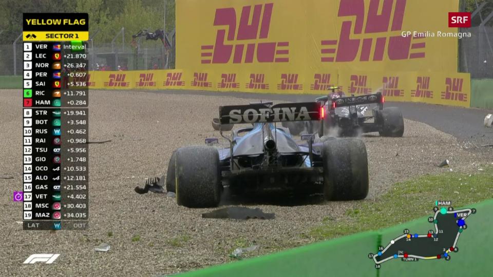 Crash da Bottas e Russell ad Imola