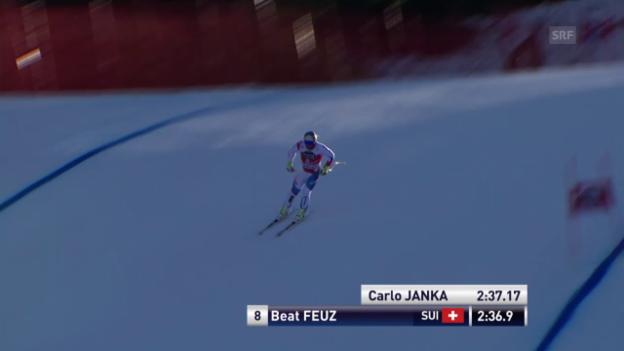Video «Ski: Beat Feuz' 1. Trainingsfahrt in Wengen» abspielen