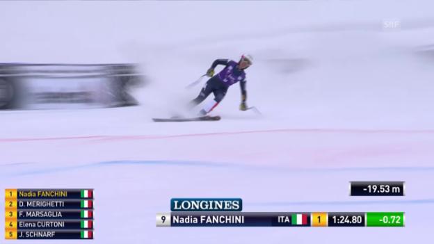 Video «Nadia Fanchini überrascht und gewinnt die Abfahrt in La Thuile» abspielen