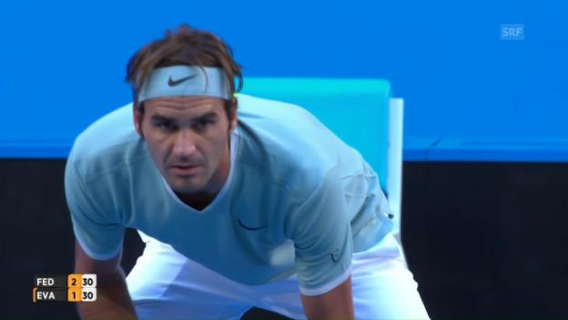 Video «Die besten Punkte bei Federer - Evans» abspielen
