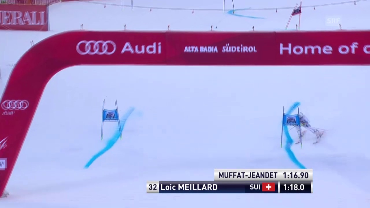 Ski: Riesenslalom Alta Badia, Loic Meillard, 1. Lauf