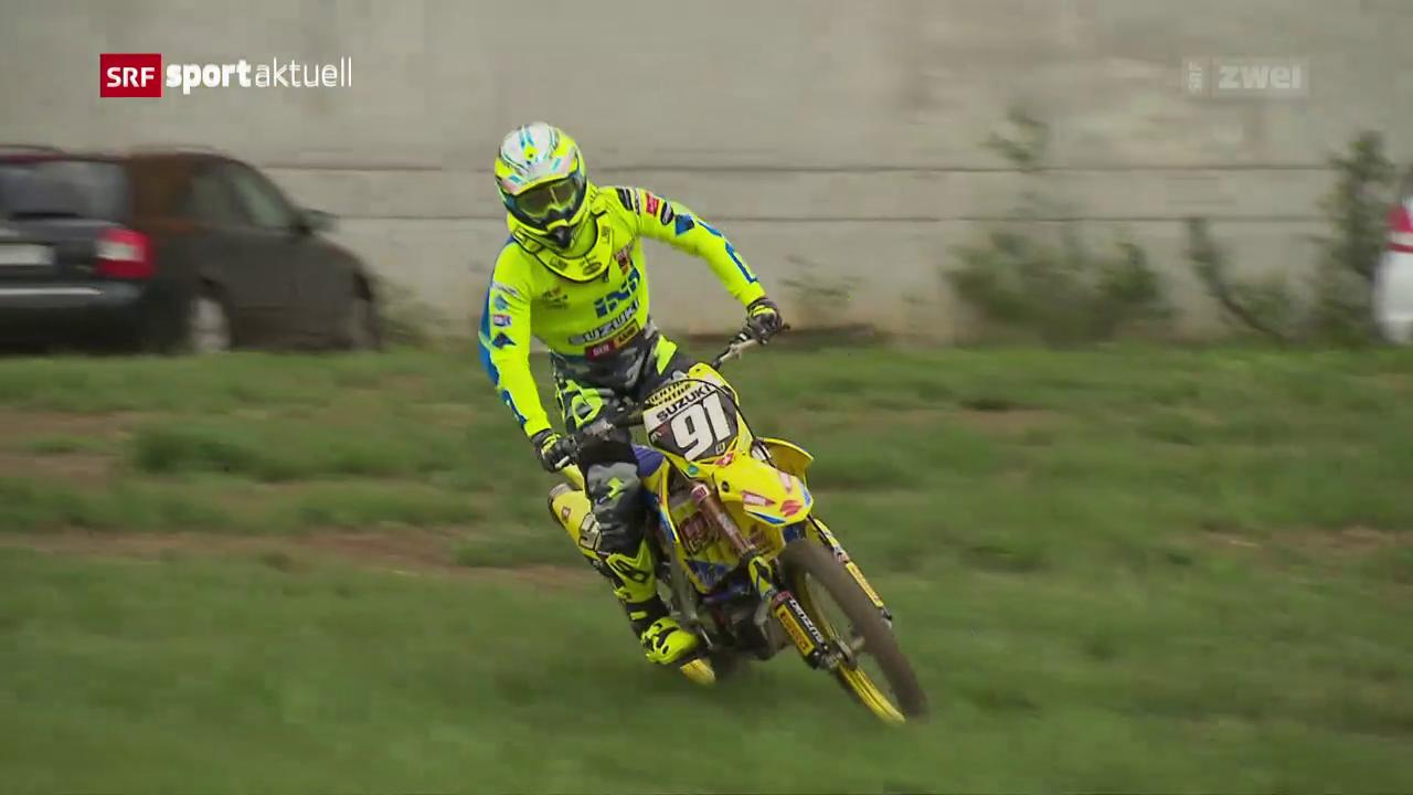 Motocrosser Jeremy Seewer testet die Strecke in Frauenfeld