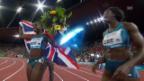 Video «LA: Weltklasse Zürich, 4x100m-Rennen Frauen» abspielen