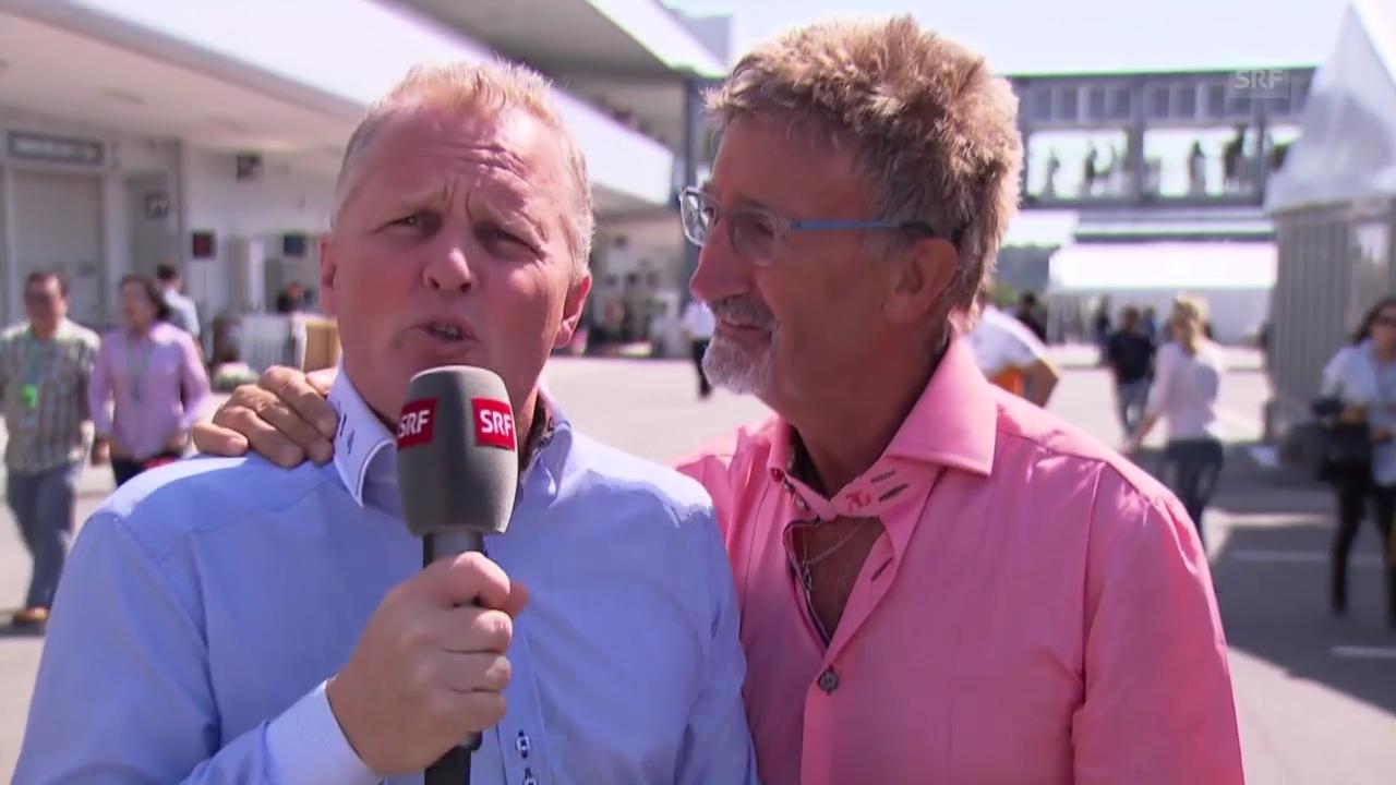 Johnny Herbert und Eddie Jordan gratulieren Peter Sauber