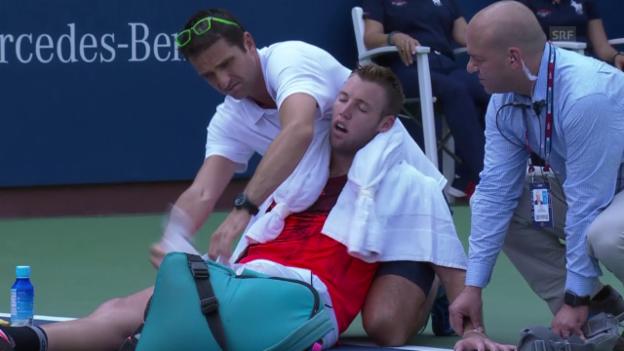 Video «Tennis: US Open, Sock muss aufgeben» abspielen