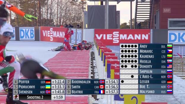 Video «Biathlon: Unglücklicher Sturz von Daniel Böhm» abspielen