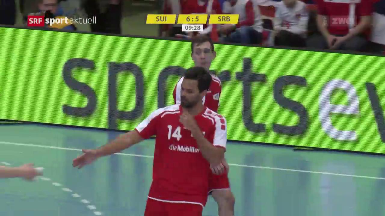 handball schweiz schl 228 gt serbien und steht im