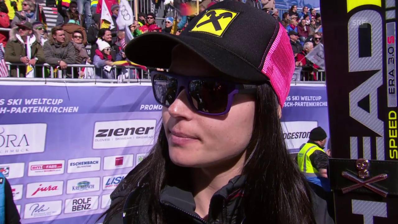 Ski alppin: Weltcup der Frauen, Abfahrt in Garmisch-Partenkirchen, Anna Fenninger im Interview
