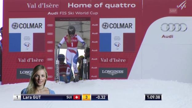 Video «Ski: Riesenslalom Frauen Val d'Isère, 2. Lauf von Lara Gut» abspielen