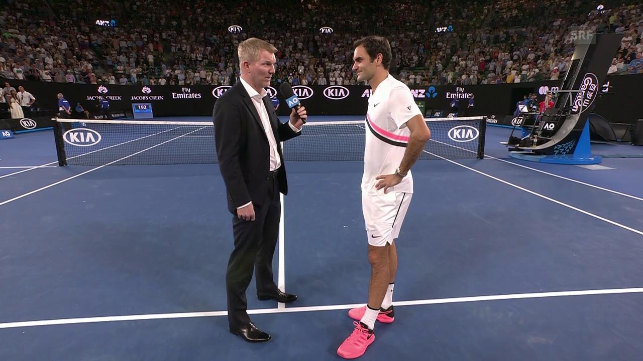 Federer: «Spiele gerne gegen Onehander» (engl.)