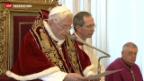 Video «Papst Benedikt XVI. tritt zurück» abspielen