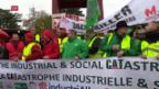 Video «Arbeiter aus Belgien demonstrieren in Genf» abspielen