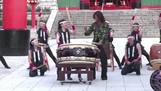 Video «Michelle Obama trommelt (unkomm.)» abspielen