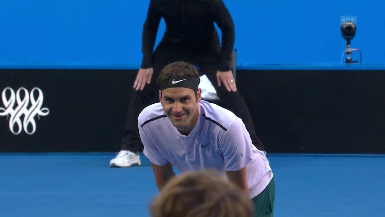Das kann er besser: Federer setzt einen Volley ins Out