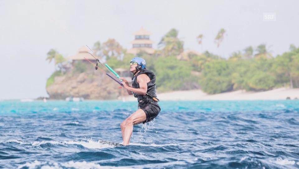 Obama und Richard Branson beim Kitesurfen