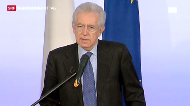 Monti an der Pressekonferenz (Tagesschau, 23.12.2012)