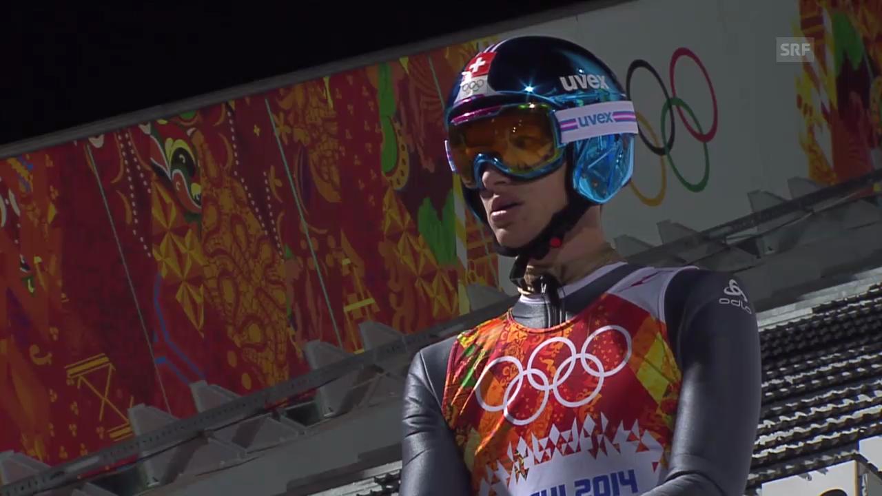 Skispringen: Grossschanze Männer, 2. Sprung Gregor Deschwanden (sotschi direkt, 15.02.2014)