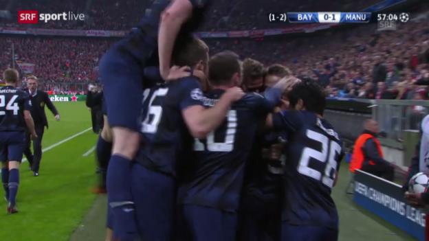 Video «Fussball: Champions League, Bayern München - Manchester United, Tor Evra» abspielen