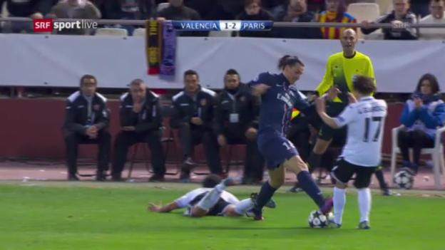 Video «Fussball: CL-Achtelfinal, Valencia-PSG, rote Karte gegen Zlatan Ibrahimovic» abspielen