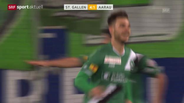Video «Fussball: Super League, St. Gallen-Aarau («sportaktuell»)» abspielen