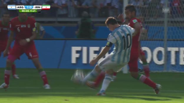 Video «Argentinien - Iran: Der Siegtreffer von Messi» abspielen