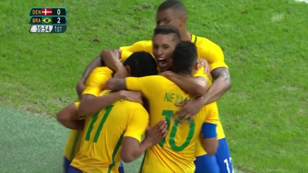 Video «Die Tore bei Brasilien - Dänemark» abspielen