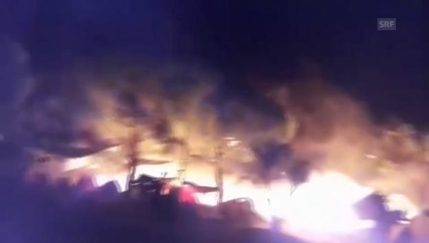 Video «Brand in Flüchtlingslager auf Lesbos» abspielen