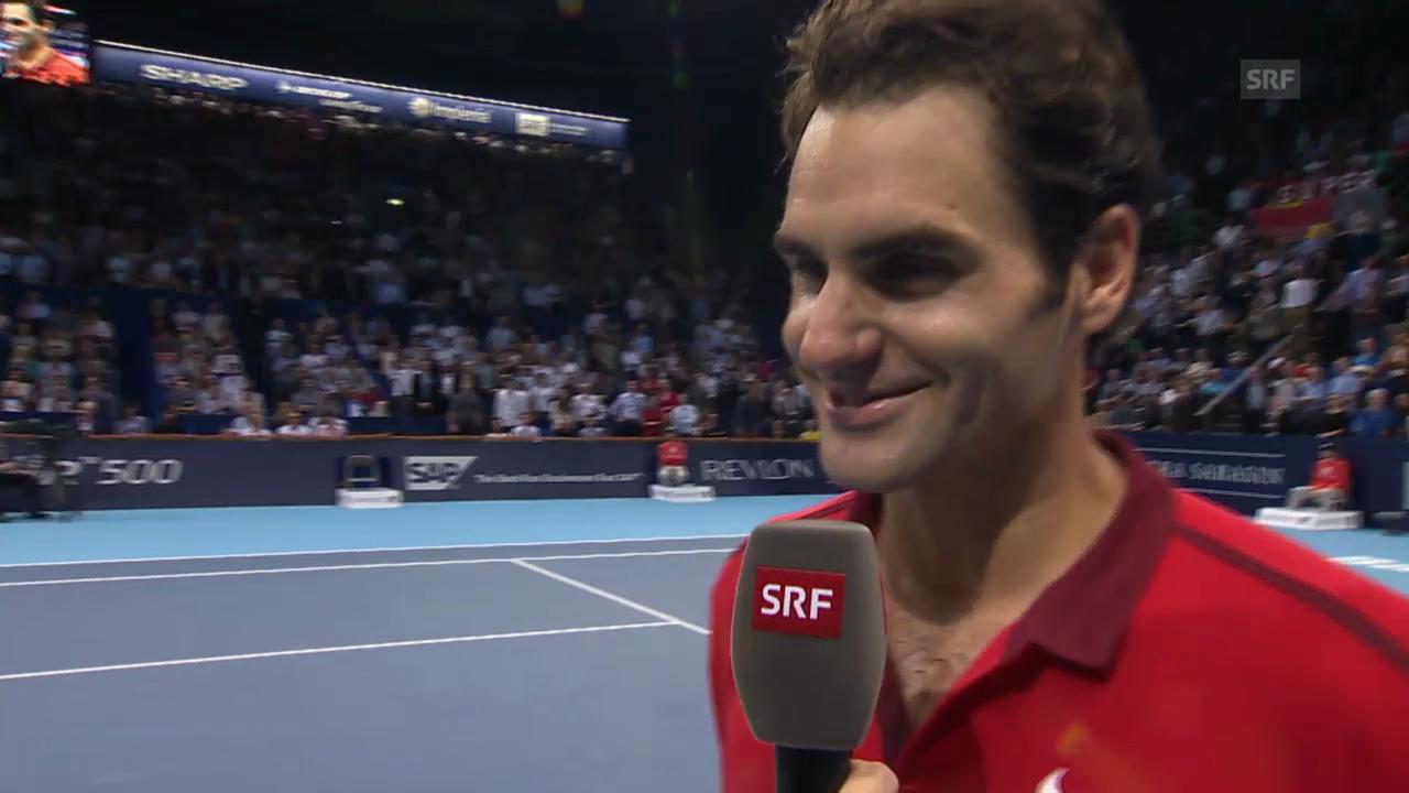 Tennis: Swiss Indoors, Halbfinal, Platzinterview Federer