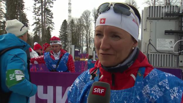 Video «Langlauf-Cheftrainerin Guri Hetland im Interview (sotschi direkt, 9.2.14)» abspielen