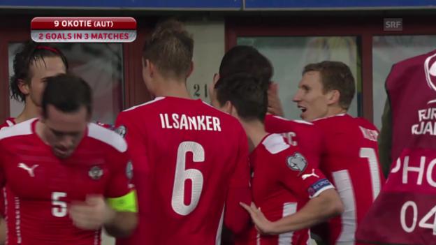 Video «Fussball: EM-Quali, Österreich - Russland, Tor Okotie» abspielen