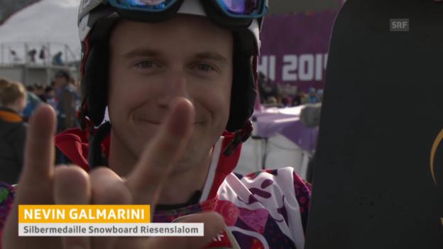 Video «Snowboard: Parallel-RS Sotschi, Interview mit Nevin Galmarini (sotschi direkt, 19.2.14)» abspielen