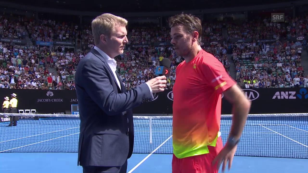 Stan Wawrinka im Platzinterview nach seinem Sieg über Lukas Rosol an den Australian Open