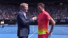 Video «Stan Wawrinka im Platzinterview nach seinem Sieg über Lukas Rosol an den Australian Open» abspielen