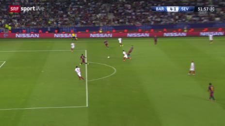 Video «Fussball: Supercup, Barcelona - Sevilla, 4:1 Suarez» abspielen