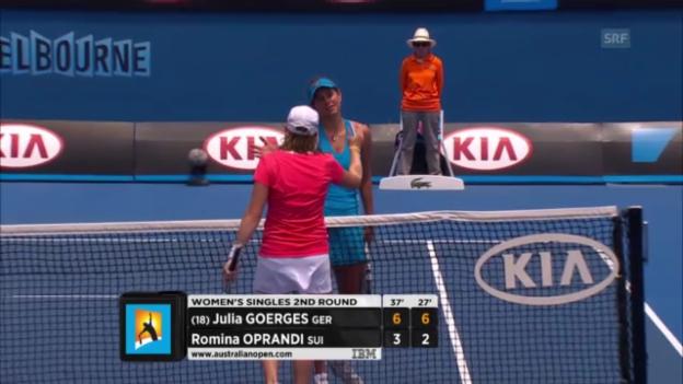 Video «Der Matchball von Julia Görges gegen Romina Oprandi» abspielen
