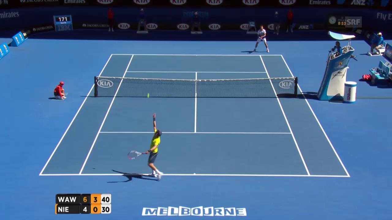 Tennis: Australian Open, Wawrinka -Nieminen, 2. Break im 2. Satz für Wawrinka