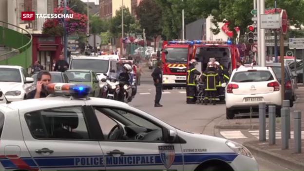 Video «Entsetzen nach Anschlag auf Kirche in Frankreich» abspielen