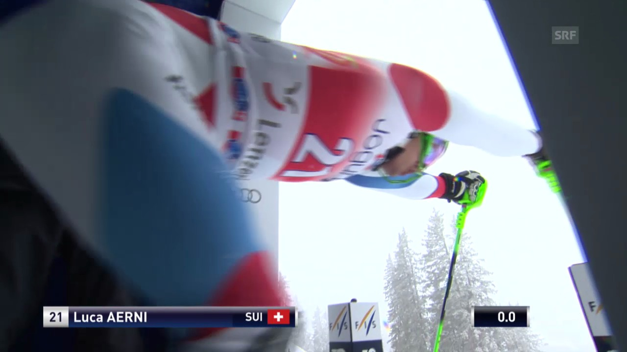 Ski Alpin: Slalom Lenzerheide, 1. Lauf Aerni