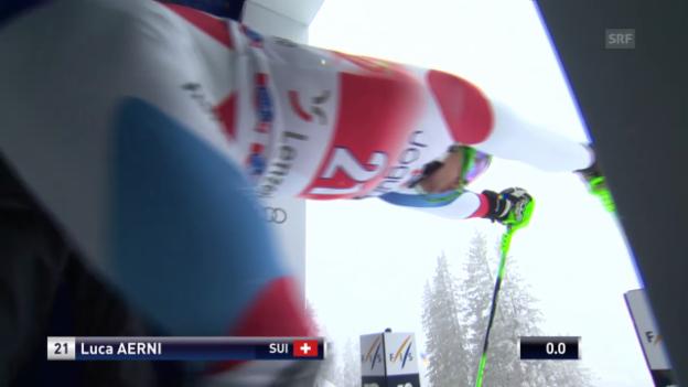 Video «Ski Alpin: Slalom Lenzerheide, 1. Lauf Aerni» abspielen