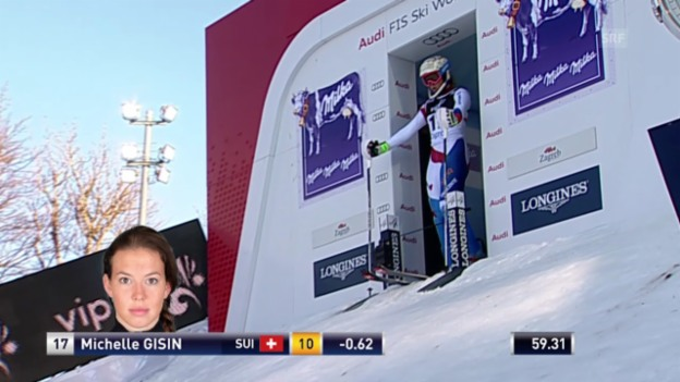 Video «Ski Alpin: Slalom Zagreb, 2. Lauf Michelle Gisin» abspielen