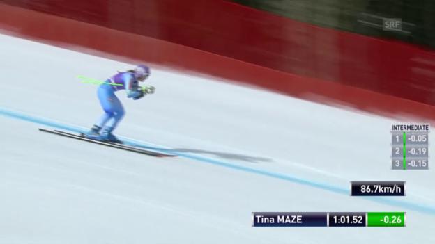 Video «Ski: Weltcup, Super-G in Bansko, Fahrt von Maze» abspielen