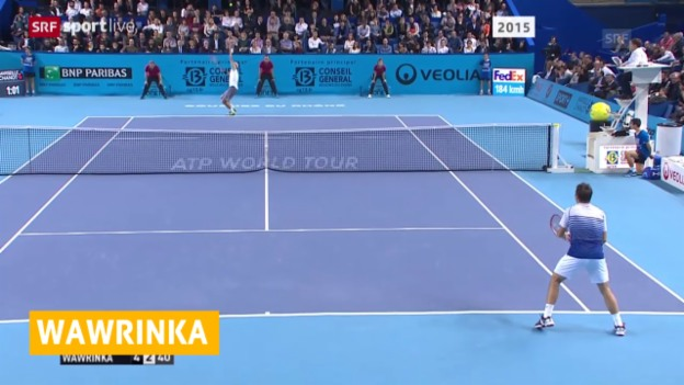 Video «Wawrinka schlägt in Marseille Sergej Stachowski» abspielen