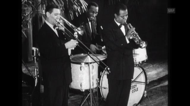 Louis Armstrong 1949 bei einem Auftritt in Zürich