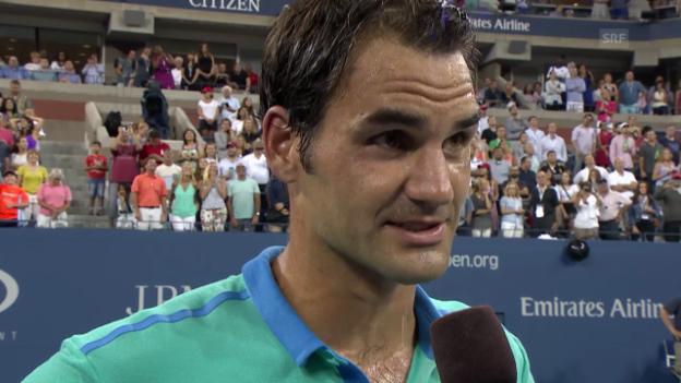 Video «TENNIS: Roger Federer nach dem Achtelfinal-Einzug in New York» abspielen