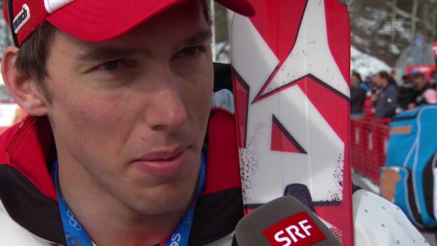 Video «Ski: Riesenslalom Männer Sotschi, Interview Carlo Janka (sotschi direkt, 19.2.14)» abspielen