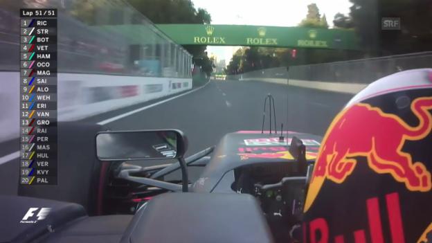 Video «Ricciardo fährt zum Sieg – Bottas fängt Stroll noch ab» abspielen