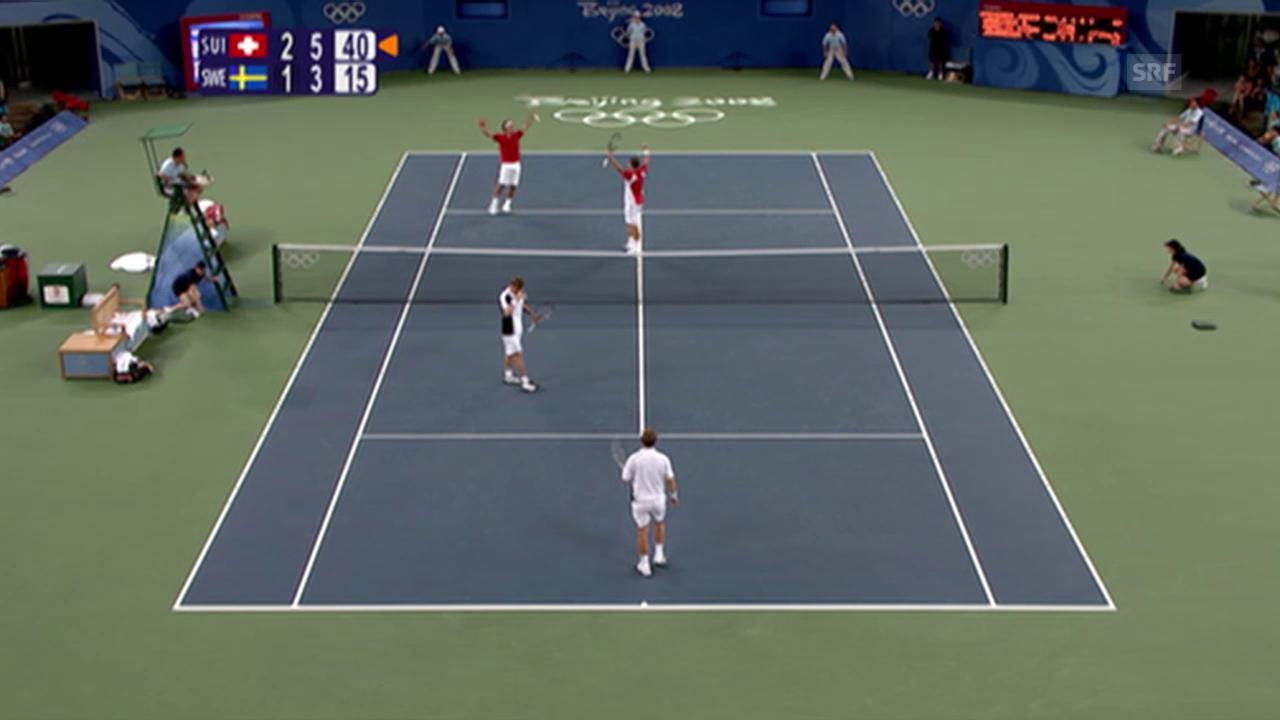 Tennis: Olympische Spiele in Peking, Federer und Wawrinka gewinnen Doppel-Konkurrenz