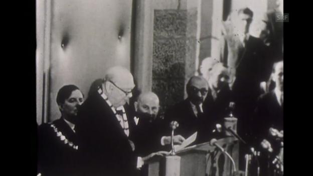 Video ««Karlspreis an Churchill», Jahresrückblick, 30.12.1956» abspielen