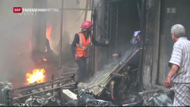 Video «Vor der Waffenruhe fallen in Syrien wieder Bomben» abspielen