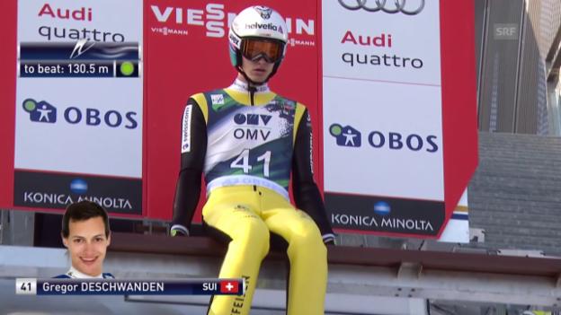 Video «Skispringen: Holmenkollen II, 1. Sprung Deschwanden» abspielen